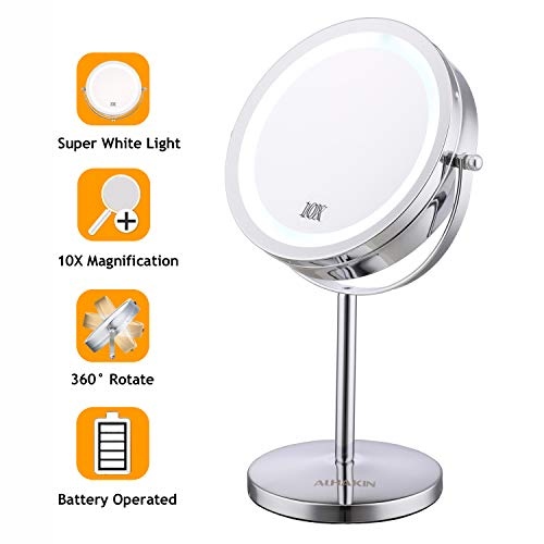 Maycho miroir grossissant x10, 7'' miroir grossissant lumineux avec led miroir maquillage chrome miroir sur pied certifié CE