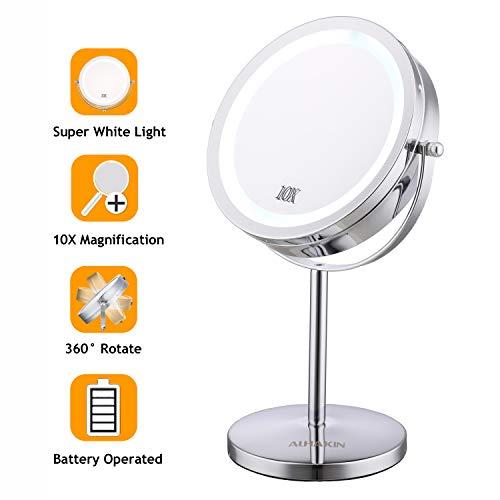 Maycho LED Kosmetikspiegel beleuchtet 1/10Fach Vergrößerungsspiegel - Doppel 17,8cm Durchmesser 360°schwenkbar Akku verchromt MEHRWEG