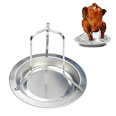 Per Chicken Roaster Rack Grilled Chicken Stand Folding Stainless Steel Vertical Roaster Chicken Holder with Drip Pan Non-Stick Cooking Tools Baking Pan Barbecue Grilling BBQ Accessories