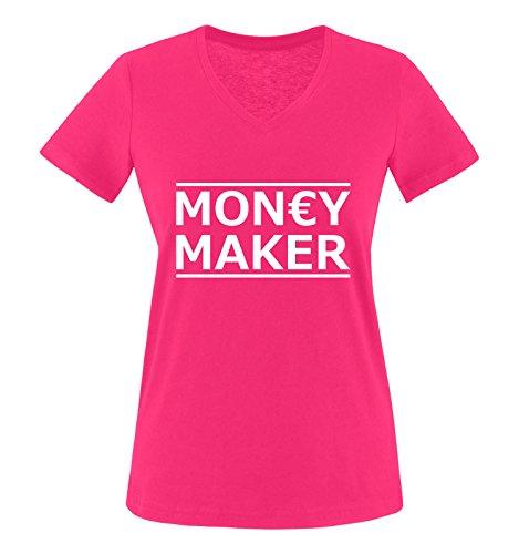 Comedy Shirts - Money Maker - Damen V-Neck T-Shirt - Pink/Weiss Gr. L