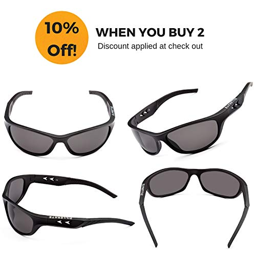 ZILLERATE Polarised Sunglasses For Men - Mens Womens Polarized Sports Sun Glasses, Fishing Driving Running Cycling Sailing Skiing Golf, UV400 Protection Safety Lenses, Wrap Around Men's Shades, Black