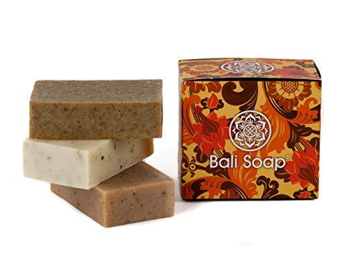 Bali Soap – 3 Piece Natural Soap Bar Gift Set – Handmade – For Face & Body – 3.5 oz Each – (Sandalwood, Ylang-Ylang…