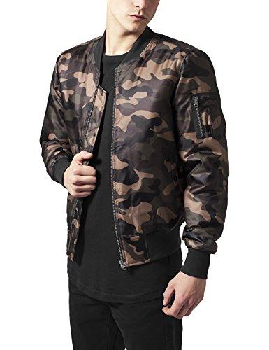 Urban Classics Camo Basic Bomber Jacket, Camouflage en Bois, L Homme