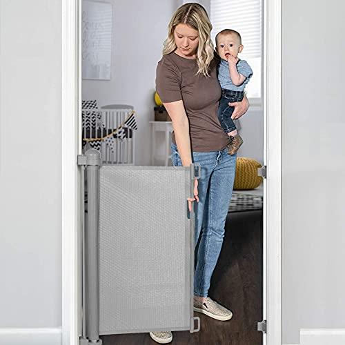YOOFOR Barrière de Sécurité Escalier Rétractable pour Bébés et Chiens, 0-180 cm, 85 cm de Haut, Barrière Extensible Opération à Une Main, Barrière Escalier pour les Escaliers Portes Couloirs, Gris