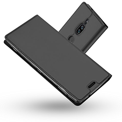 Radoo Funda Sony Xperia XZ2 Premium, Slim Case de Estilo Billetera Carcasa Libro de Cuero,PU Leather con TPU Silicona Case Interna Suave [Cierre Magnético] para Sony Xperia XZ2 Premium (Gris N
