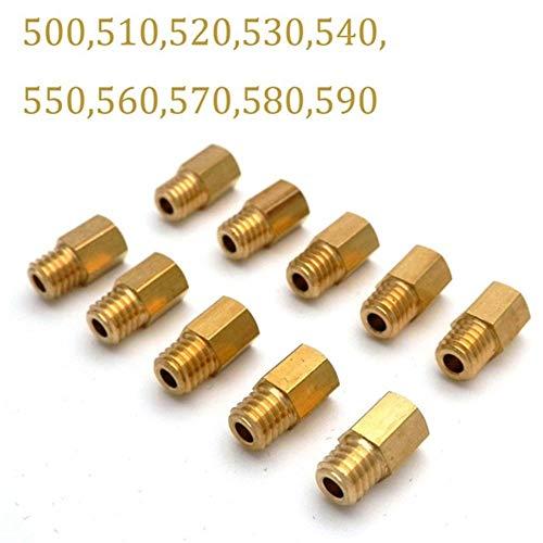 Vergaserinjektor 10pcs / lot Motorrad-Vergaser Hex Typ Haupt-Jet 5.2x0.75mm for Mikuni VM/TM/TMX RX100 AX100 TM24 27 28 Größen von 50 bis 690 (Color : 500-590)