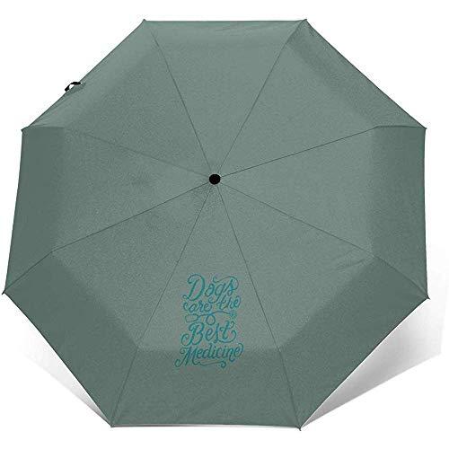 Automatischer dreifachgefalteter Regenschirm Hunde sind die Beste Medizin Petrol Automatischer dreifachgefalteter Regenschirm Sonnenschutz Winddicht