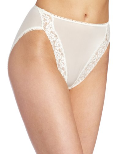 Wacoal Women's Bodysuede Lace Hi-Cut Panty Brief Panty, Ivory, 7