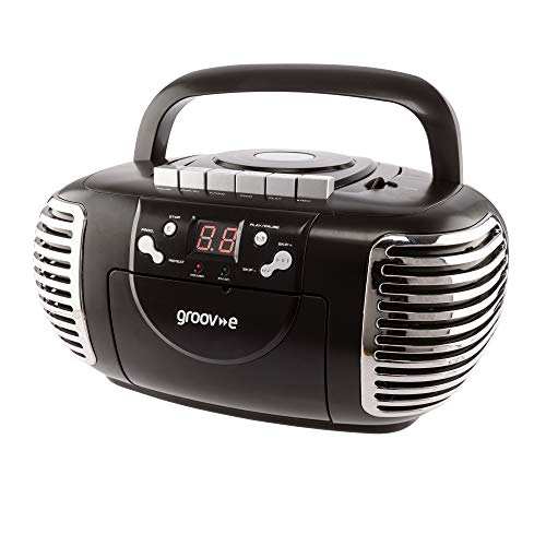 Groov-e Retro Boombox CD Player with Cassette, AM &FM Radio Tuner, 3.5mm...