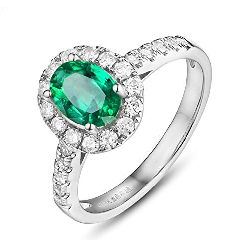 Ubestlove Vintage Ring Emerald Natural Gemstone Ring 1.35Ct Oval Natural Emerald Ring 1.35Ct O 1/2
