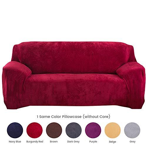 Hengweiuk Sofahusse, dick, Reine Farbe, Sofabezug, 1/2/3/4 Sitzer, Samt, Sofa-Schonbezug, Stretch, einfache Passform, stilvoller Möbelbezug, Haustier-Schutz, Textil, weinrot, 3 Seater/Sofa