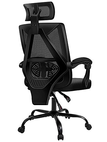 PatioMage Office Chair Adjustable Height and Reclining Swivel Desk Chair Ergonomic and Comfortable Computer Chair with Armrests and Lift Headrest Mesh Back Lumbar Support and Rolling Wheels (Black)