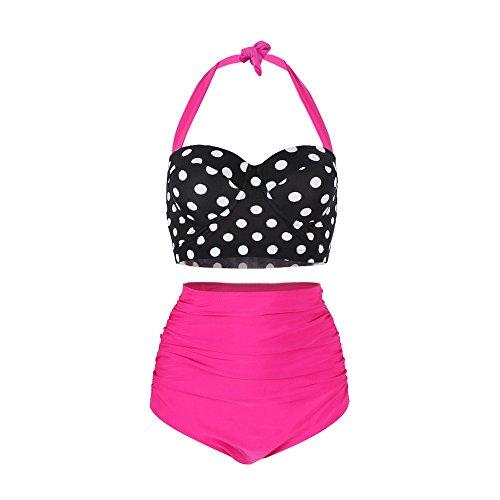 FeelinGirl Bikini para Mujer Lunares Estampados Push Up Vintage Talle Alto...