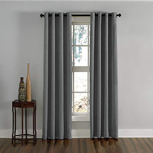 """Curtainworks Lenox Grommet Curtain Panel, 50 by 120"""", Grey"""
