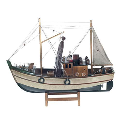 Vidal Regalos Figura Decorativa Barco Pesquero Adorno Maqueta Miniatura Pesca 40 cm