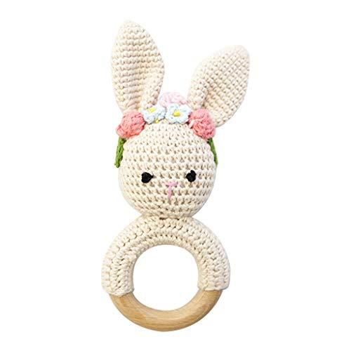 unkonw Anillo de mordedor de madera para bebé DIY Crochet conejito sonajero pulsera molar juguetes