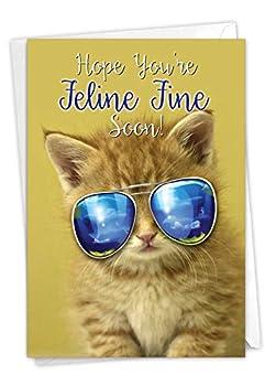 The Best Card Company - Get Well Soon Greeting Card - Inspirational Feel Better Notecard Animals - Kool Kitties C6891AGWG
