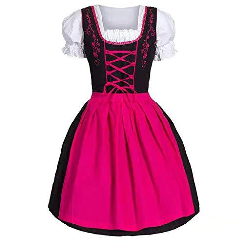 kenebo Halloween Kleider Cosplay Gothic Grwn Kostüm Mittelalter Performance Victoria Maid Bier Dirndl Renaissance Gr. L, Rose