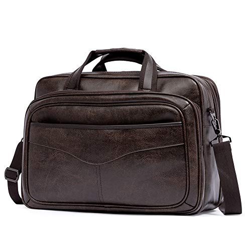 BROMEN Briefcases for Men Laptop Bag 15.6 Inch Expandable Leather Messenger Computer bags Large Business Travel Bags Coffee