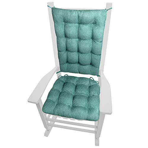 Microsuede Rocking Chair Cushions - Latex Foam Filled Seat Pad and Back Rest Cushion - Microfiber Vegan Suede, Reversible, Machine Washable (Turquoise, Extra-Large)