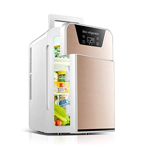 ZOUSHUAIDEDIAN Mini Nevera de 20 litros de CA/CC Portable de la Belleza Nevera refrigerador termoeléctrico y Calentador for el Cuidado de la Piel, Dormitorio y Viajes, Oro/Plata (Color : Gold)