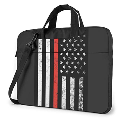 15.6″Lightweight Laptop Notebook Shoulder Backpack Bag Red Thin Flag Firefighter Waterproof PC Briefcase Messenger with Strap