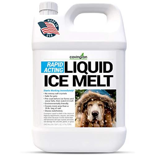 Ice Melt, Pet Safe Ice Melt, De Icer for Sidewalks, Driveways, Decks, & Concrete. Spray Pet Friendly Liquid Ice Melt, Covers More Ground & Easier than Spreading Salt Pellets, USA Made-1 Gallon