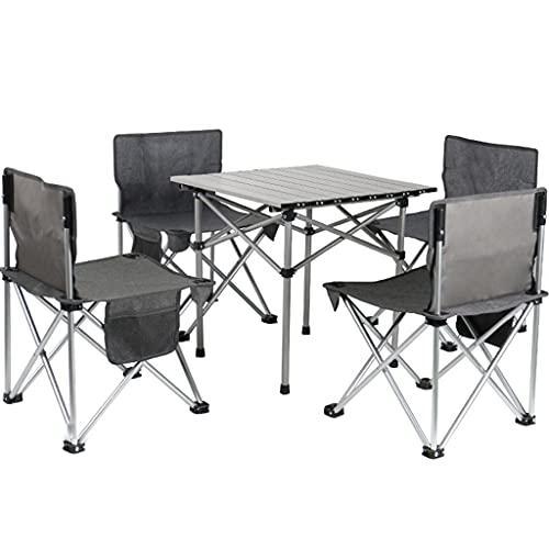 DXIN Klappbarer Campingtisch Aus Aluminiumlegierung, Tragbarer Strandtisch, Wasserdichter Rolltisch, Tragbarer Kleiner Reisetisch, Grillpicknick Campingausflug Wandern (Set : Square Table+4 Chairs)