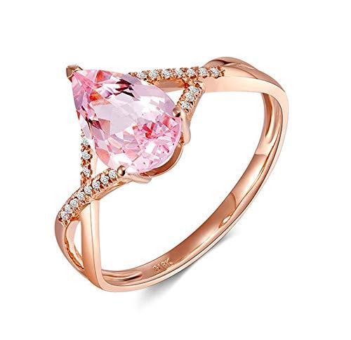 Rubyia Verlobungsring Morganit für Freundin 18ct (750) Rosegold 1.15ct Rosa Morganit Birne mit Intersect Größe 62