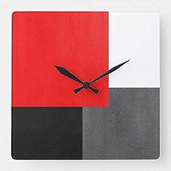 TattyaKoushi 15 by 15-Inch Wall Clock, Red Gray Black and White Geometric Block Square Wall Clock Living Room Clock, Home Decor Clock