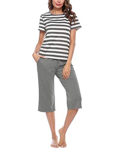 Irevial Pijamas para Mujer,Pijama a Rayas para Mujer Camiseta y Pantalones De Algodón De Manga Corta Conjunto Ropa De Dormir De Dos Piezas
