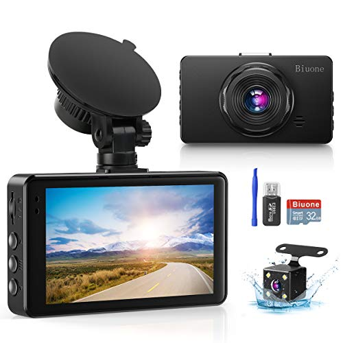 Dash Camera for Cars, Super Night Vision Dash Cam Front and Rear with 32G SD Card, 1080P FHD DVR Car Dashboard Camera with G-Sensor, WDR, Parking Monitor, Loop Recording, Motion Detection 【2020 New】 Cameras On-Dash