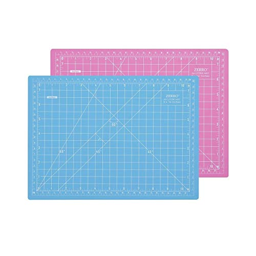 """ZERRO Self Healing Cutting Double-Sided Rotary Mat Non-Slip 5-Ply Thick 9"""" x 12"""" Pink/Blue(A4)"""