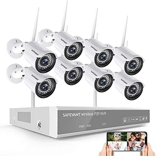 1080P Wireless Security Camera System,SAFEVANT 8 Channel Outdoor Indoor Wireless NVR Systems 8pcs 2MP Home Surveillance IP Cameras Night Vision Motion Detection,NO Hard Drive