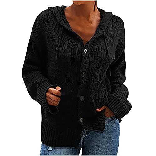Hailmkont Chaqueta de punto para mujer, de gran tamaño, cuello en V, con botones, elegante chaqueta de otoño e invierno, Negro 26., M