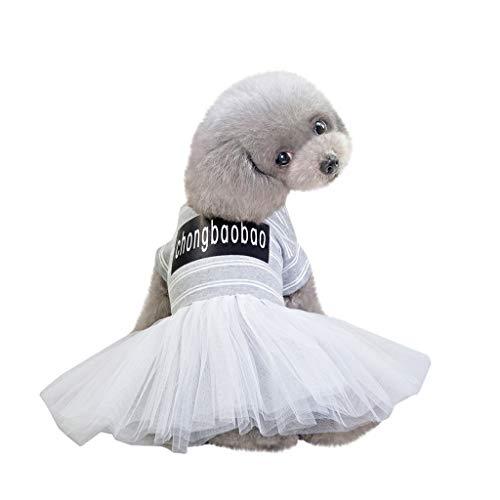 YWLINK Mode Haustier KostüMe Sommer Elegant Retro Streifen Mesh Patchwork Atmungsaktiv Einfach Party Hochzeit Kleid(Grau,XXL)