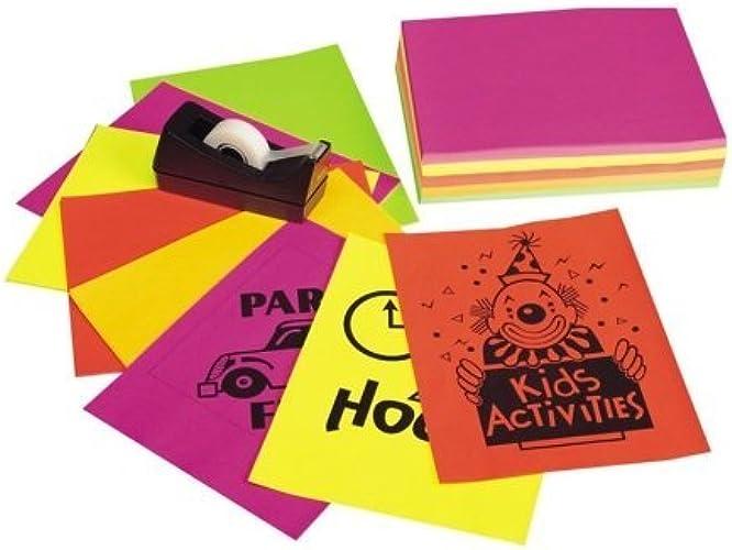 Neon Bond Copy Paper Five Assorted Couleurs, 24lb, Letter, 100 Sheets by Pacon