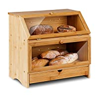 leader accessories portapane in bambù, contenitore per pane a doppio strato per conservazione di alimenti di grande capacità in bambù da cucina e panetteria, cassetta per pane