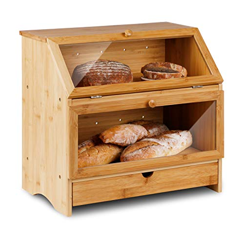 HOMEKOKO Large Bamboo Two-layer Bread Box With Drawer, Double Layers Large Bread Box for Kitchen Counter, Wooden Large Capacity Bamboo Bread Food Storage Bin