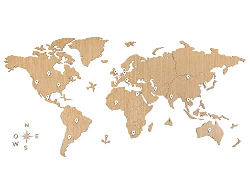 CONTRAXT Mapa Mundi Pared Grande - Cuadro mapamundi Gigante Madera Decoracion Pared Paneles Decorativos 3D Murales Vintage habitacion Salon Modernos
