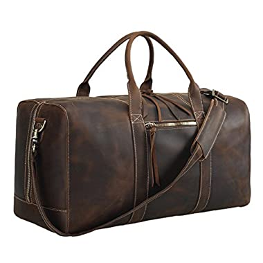 Polare Mens Genuine Leather Duffel Bag Overnight Travel Duffle Weekender Bag 22.8''