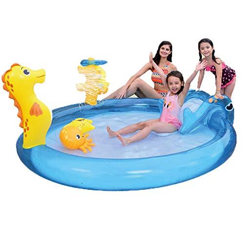 Pangpang Aufblasbares Baby-Schwimmbecken Mit Rutsche, Spielzeug Und Wassersprühkopf - Kinderschwimmbad Aufblasbarer, Verdickender Kinderschwimmkorb (Seepferdchen-Babybecken)