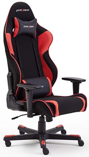 Robas Lund DX Racer OH/RW86/NR R1 Gaming Stuhl XXl für Große Gamer bestens geeignet, mit Wippfunktion Gamer Stuhl Höhenverstellbarer Drehstuhl PC Stuhl Ergonomischer Chefsessel, schwarz-rot