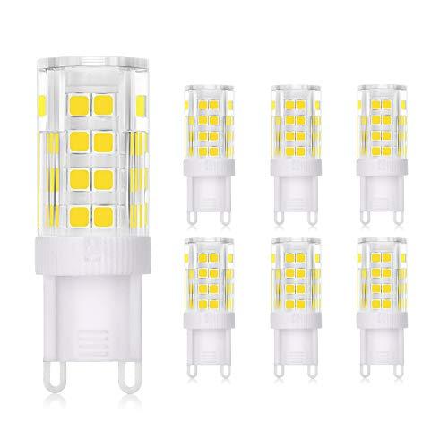 WEDNA Bombilla LED G9 3W, Equivalente 30W Lampara Halógena, 52 LEDs G9, 300 lúmenes, Blanco Frío 6000K, CA 220-240V, No regulable, Sin parpadeo, paquete de 6
