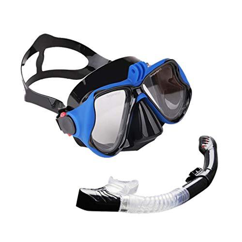 Conjunto de máscaras de snorkel Lioobo – Óculos panorâmicos antiembaçamento 180 e snorkel seco dobrável e suporte removível para câmera – Equipamento de mergulho para adultos e jovens
