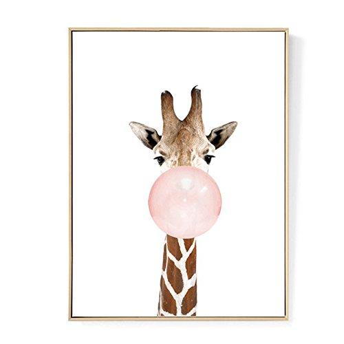 WOVELOT Kawaii Animal Jirafa Poster de Impresion de Arte Pintura de Lona nordica Cuadro de Pared Decoracion de habitacion (sin Marco) 30cm * 40cm