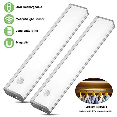 LED Schrankbeleuchtung mit Bewegungsmelder Schranklicht LED Nachtlicht LED Sensor Licht Wiederaufladbar Schranklicht mit Bewegungsmelder(20cm warmweiss 2pcs)