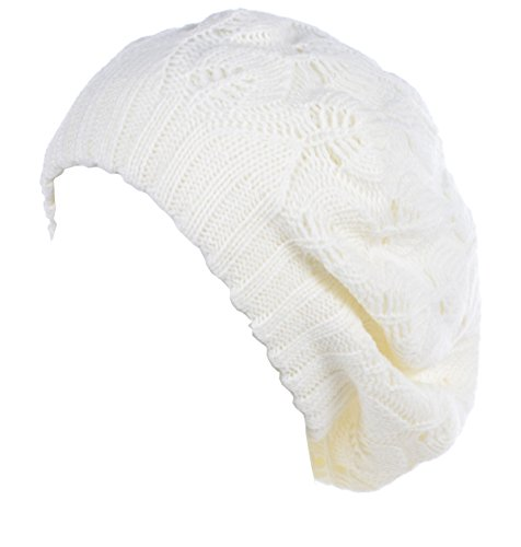 BYOS Winter Chic Warm Double Layer Leafy Cutout Crochet Knit Slouchy Beret Beanie Hat (Off-White Leafy)