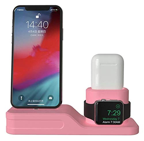 HCCHZR Charging Dock Charger 4 in 1 Fit Charging Dock Silicone Docking Station Cell Phone Stand (Color : Pink)