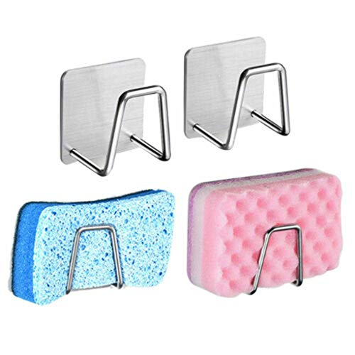 Neubula - Soporte de pared con esponja para jabón, escurridor, soporte de baño, soporte de almacenamiento, autoadhesivo, reutilizable, sin taladrar